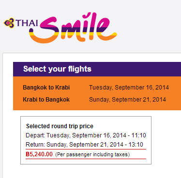 This option gives  you 4 days in Bangkok, then 5 in Krabi and then a few more in Bangkok before you have to fly home.