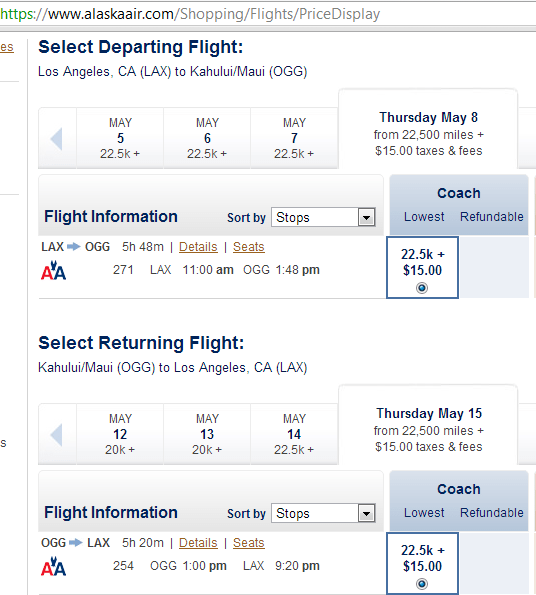 I'll only book the outgoing one way with Avios-- 12,500 per person. The return will be booked with AA miles (more on this below)