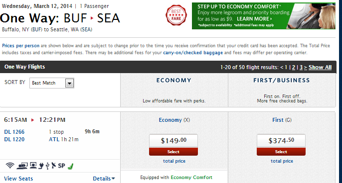 I chose these cities somewhat at random, and the date totally at random.  Delta Just happens to offer the same flight for almost half the price of United in First. Is it worth $350 one way? Only you can answer that question.