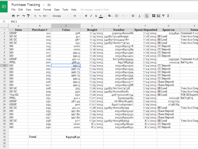Purchase Tracking Spreadsheet
