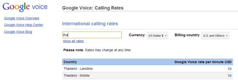 Voice Rates Thai