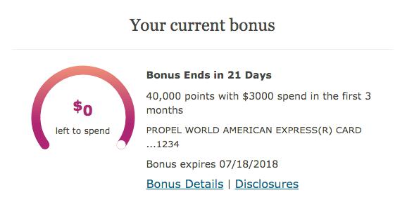 Tracking Wells Fargo signup bonus progress
