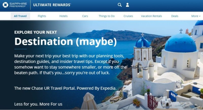 Chase UR Travel Portal Sold [Us] Out-New Expedia Powered
