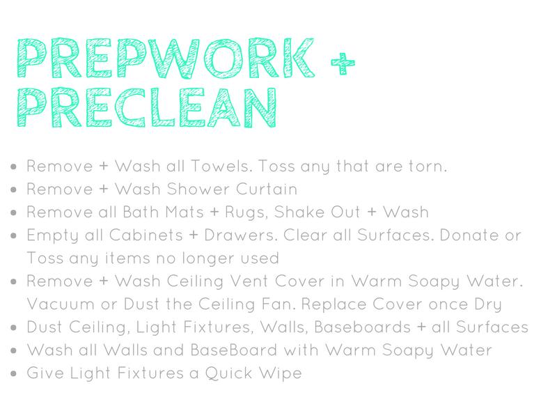Bathroom Spring Cleaning Prework and Preclean Checklist