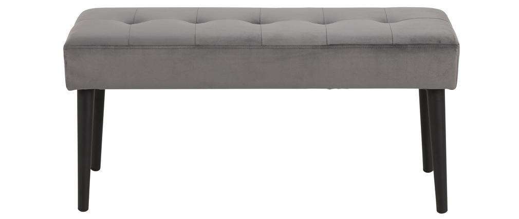 banc design en velours gris capitonne
