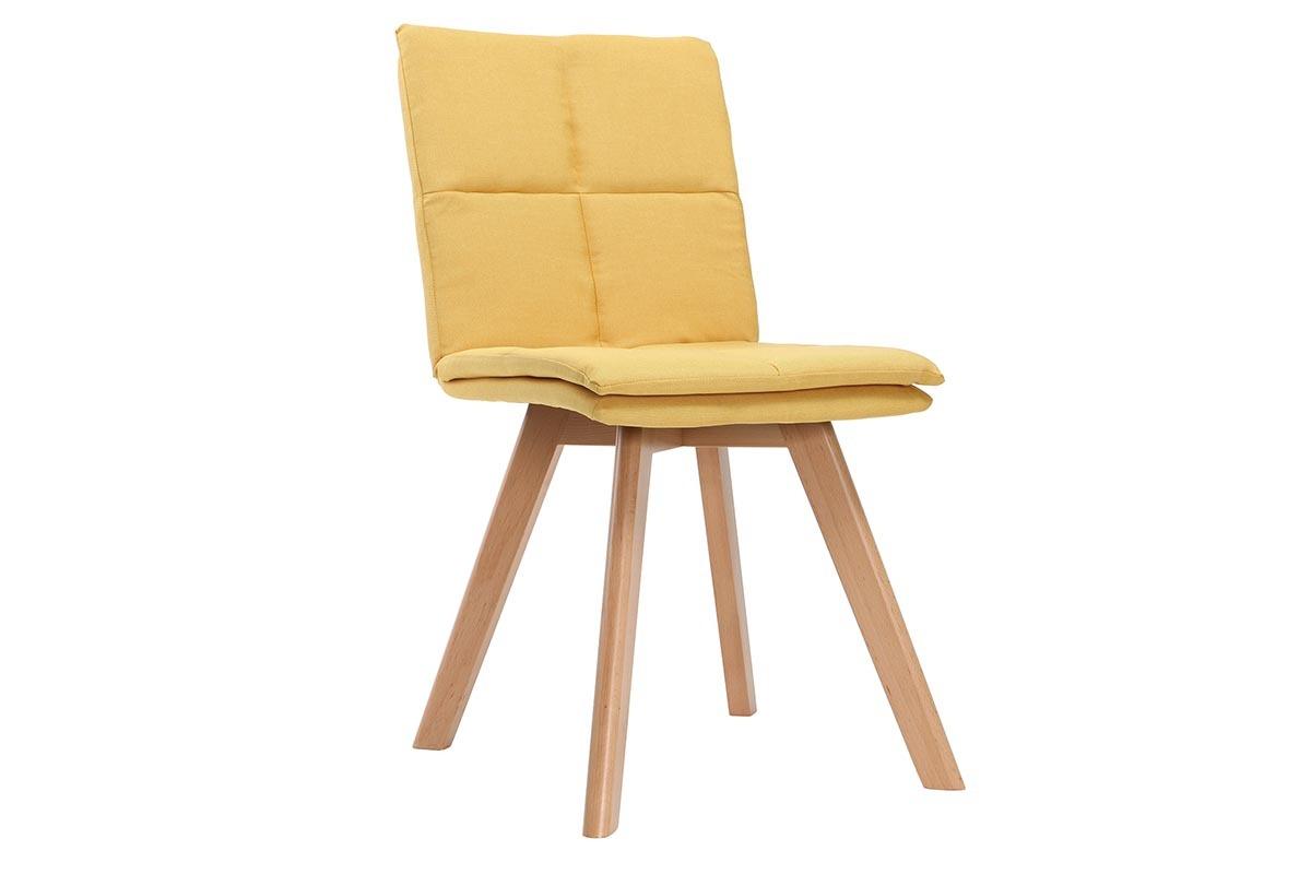chaise scandinave tissu jaune pieds