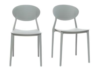 chaises design empilables grises lot de 2 anna