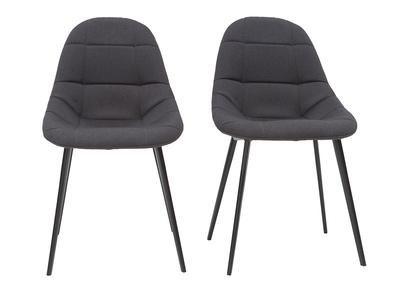 chaises design en tissu gris fonce et metal lot de 2 cox