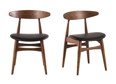 chaises design noyer et noir lot de 2 walford