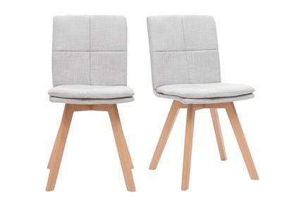 chaises scandinaves en tissu gris clair et bois clair lot de 2 thea