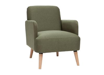 fauteuil scandinave kaki et bois isko
