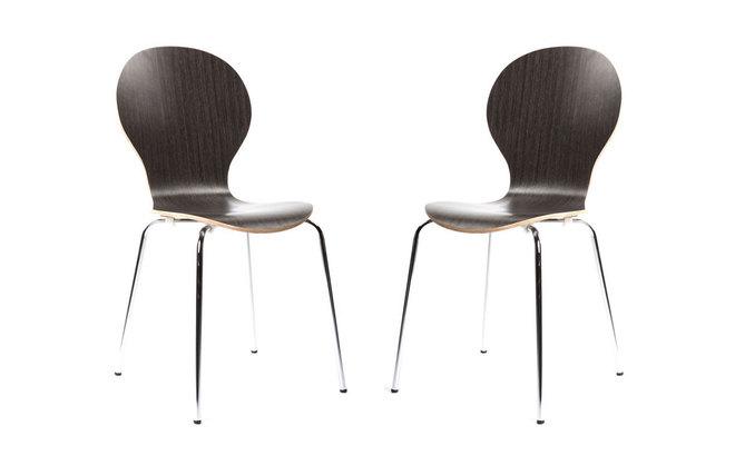 Lot De 2 Chaises Design Empilables Bois Marron Fonc NEW
