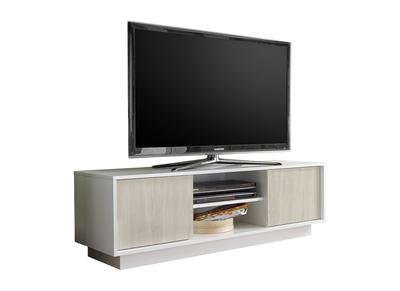 meuble tv design laque blanc brillant et effet chene l138 cm hero