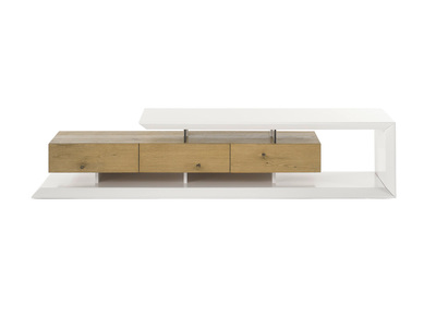 meuble tv design laque blanc et bois rituel