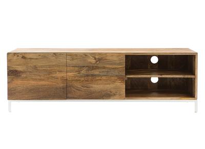 meuble tv design manguier massif et metal blanc 145cm boho