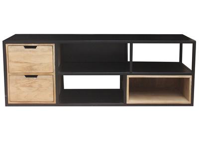 meuble tv en manguier massif et metal noir jaipur miliboo stephane plaza