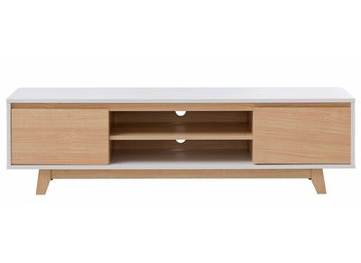 meuble tv scandinave blanc brillant et bois lahti