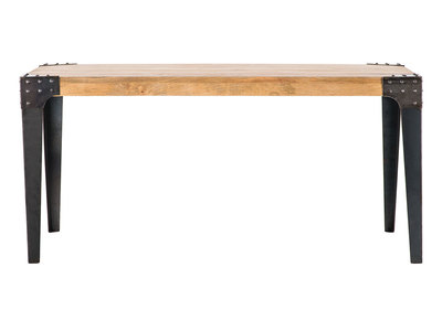 table a manger industrielle acier et manguier massif l160 cm madison