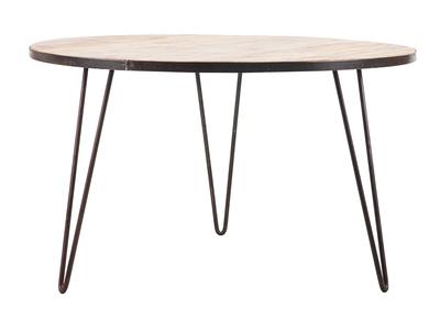 table a manger ronde industrielle manguier massif et metal d125 cm atelier