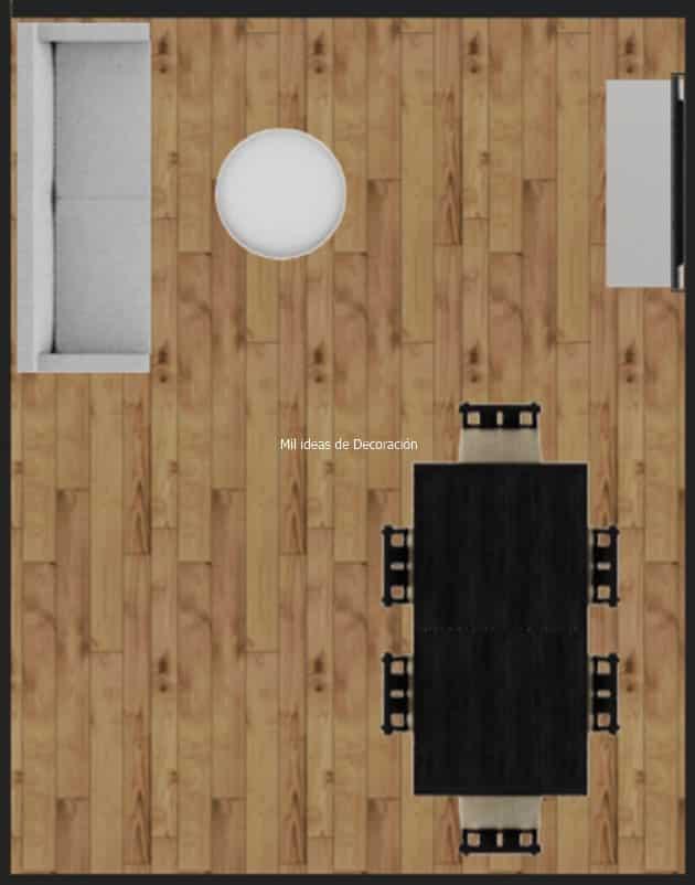 Dikdörtgen yemek odası yerleşim planı