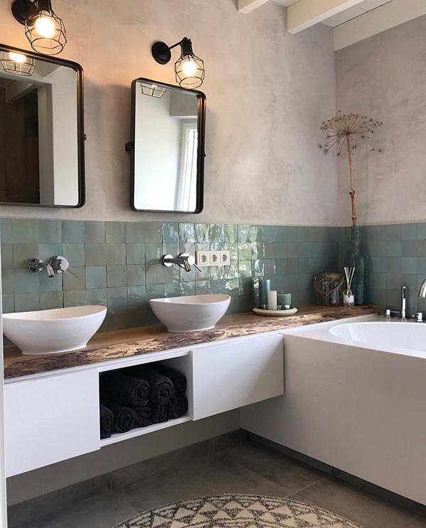 Döşemesiz banyolar: Çimento ve beton