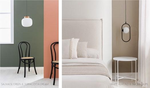 Colores Kenay Home y Bruguer: Verde oliva, terracota, blanco almendra y topo