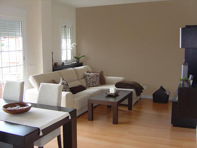 Kahverengi ve beyaza boyanmış duvarları olan bir oturma odası