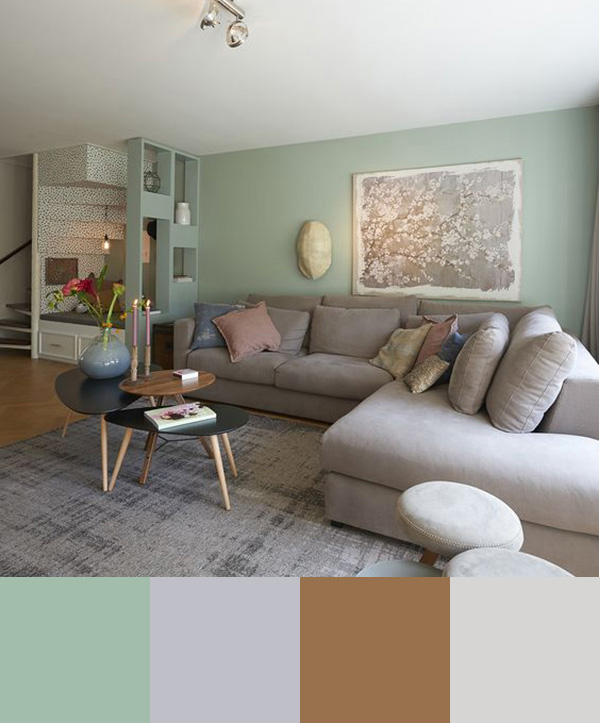 Modern bir oturma odası boyamak için renk kombinasyonu