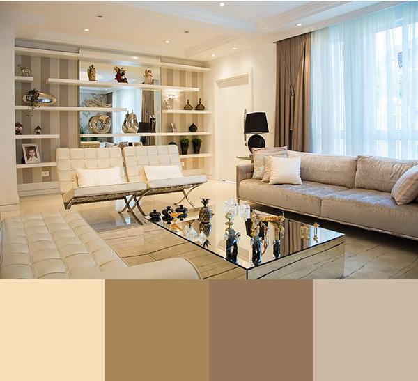 Modern bir oturma odasını boyamak için renk kombinasyonu