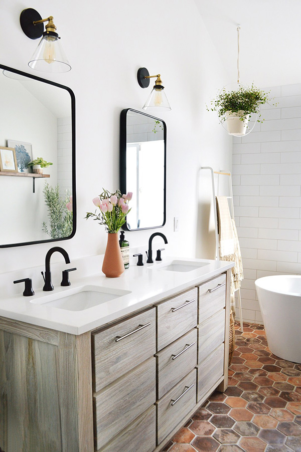 Modern bir rustik banyo
