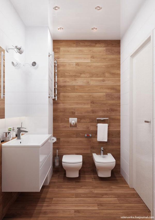 Rustik detaylara sahip modern bir banyo
