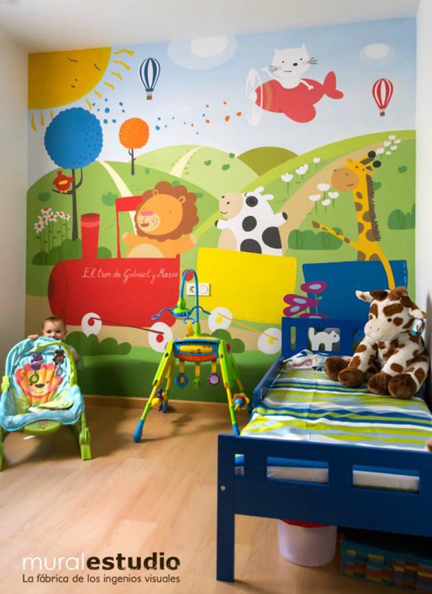 Çocuk odası için duvara boyanmış dekoratif duvar resmi