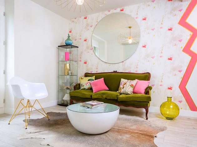 Retro tarzı küçük bir oturma odası
