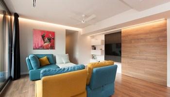 Televisión integrada en el diseño del salón