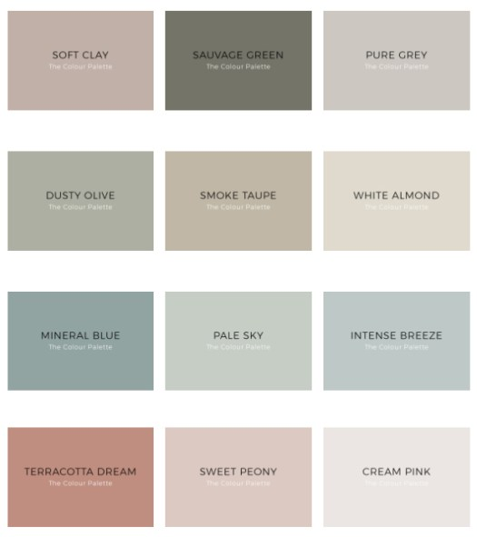 Carta de colores de Kenay Home y Bruguer The Colour Palette