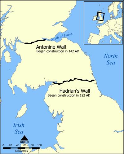 Le mur d'Hadrien et plus tard le mur d'Antoninus.