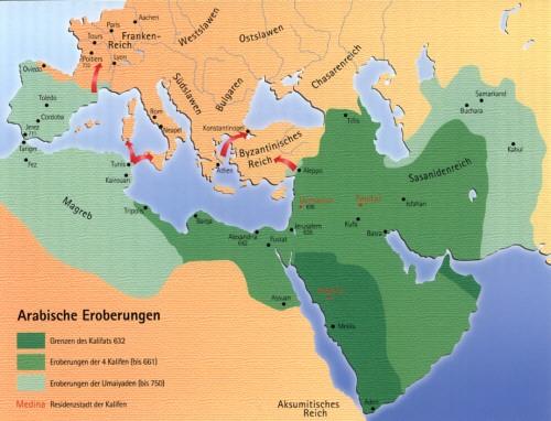 Größte Ausdehnung des islamischen Reiches um 711