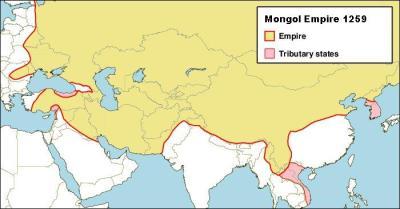 L'empire mongol à la mort de Möngke Khan (1259)