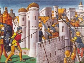 Die Kreuzfahrer erobern Konstantinopel. Buchmalerei aus Paris, 1499 Quelle: Joachim Schäfer