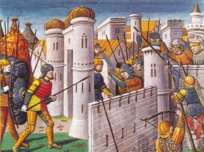 I Crociati conquistano Costantinopoli. Illuminazione libri da Parigi, 1499