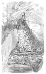 Ataque con una torre de asedio en representación del siglo XIX