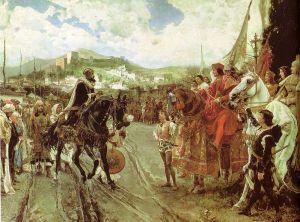 Boabdil übergibt 1492 Granada an das spanische Königspaar (Historienbild von 1882)