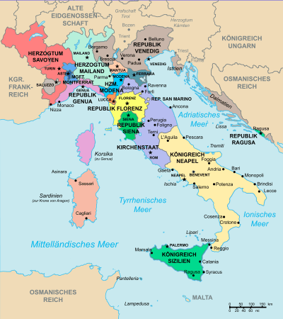 Die politische und territoriale Situation in Italien um 1494