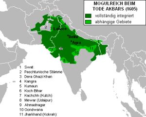 Ausdehnung des Mogulreiches beim Tode Akbars (1605)