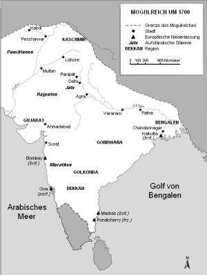 Das Mogulreich um 1700 unter Aurangzeb