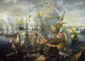 Die Schlacht bei Gibraltar in einer Darstellung von Hendrick Cornelisz. Vroom