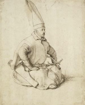 Сидящий янычар, рисунок Джентиле Белини в 1480