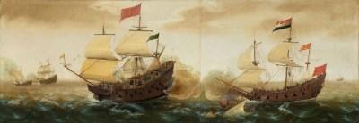 Représentation d'un galion espagnol (à gauche) ; Cornelis Verbeeck, vers 1618 - 1620