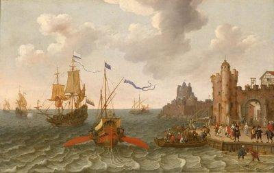 Eine französische Galeere und eine niederländische Galeone vor einem Hafen, Gemälde von Abraham Willaerts aus dem 17. Jahrhundert