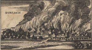 Das brennende Durlach 1689 (zeitgenössische Darstellung)